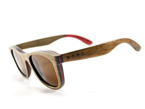 Skateboard Wood Sunglasses face view - model Money Plays - parlour.club