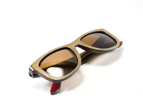 Brown Skateboard Wood Sunglasses folded view - model Zombie - parlour.club