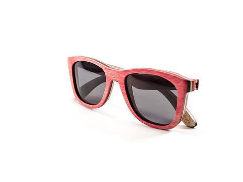 Wood Sunglasses, red, side view folded - model Ram and Jam- parlour.club