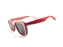 Red Skateboard Wood Sunglasses side view - model Ram and Jam - parlour.club