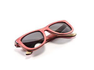 Red Skateboard Wood Sunglasses folded view - model Ram and Jam - parlour.club