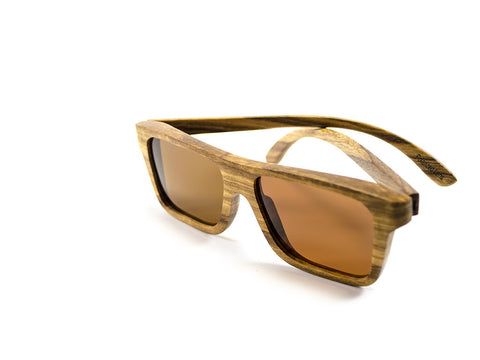 Zebra Wood Sunglasses Side view - Model Ajax - Parlour Club
