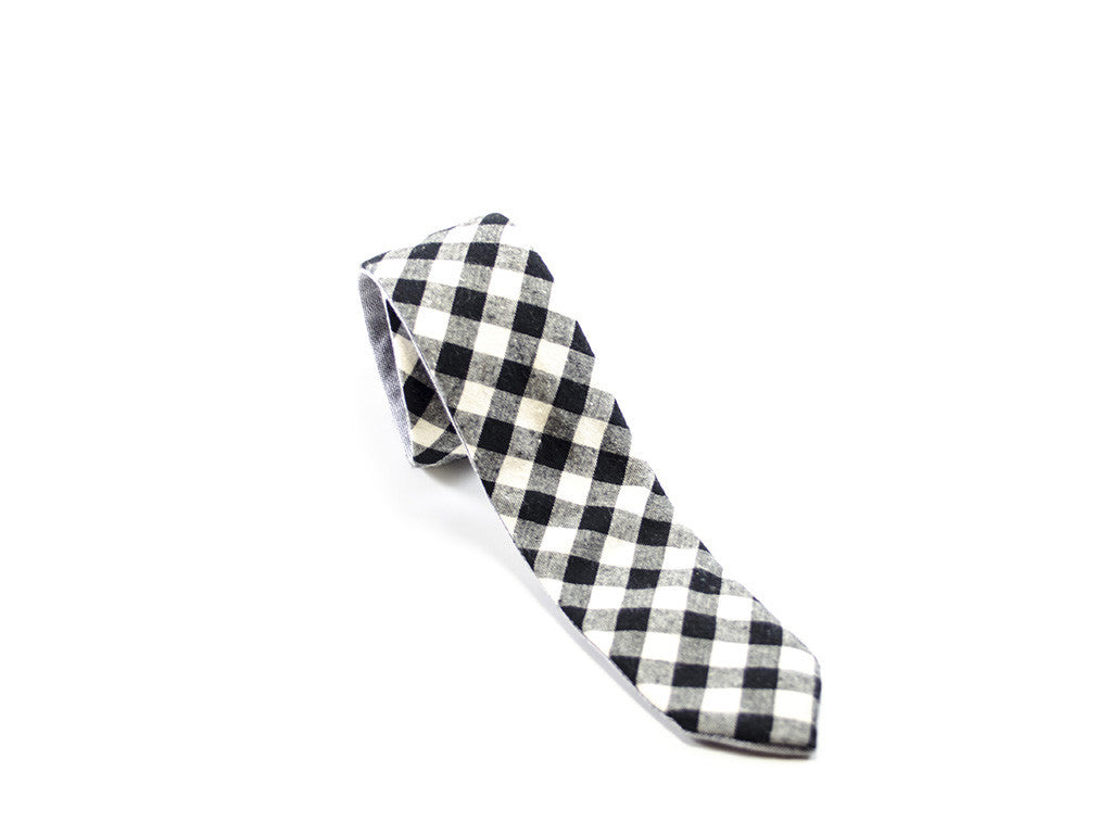 Checker Tie Black & White on white background | Parlour.Club
