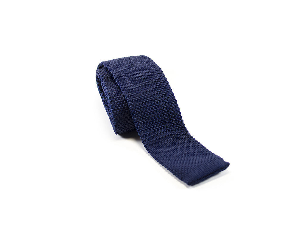 Knitted Tie Navy Blue on white background | Parlour.Club