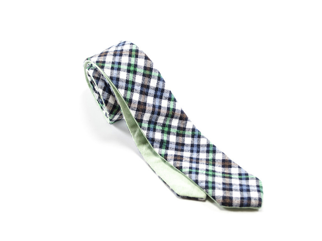 Cheker Tie Green - reversible on white background | Parlour.Club
