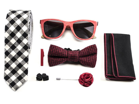 matched men's accessories -  Wood Sunglasses, Blue Tie, Bow tie, pocket square, cuff links, money clip, lapel pin