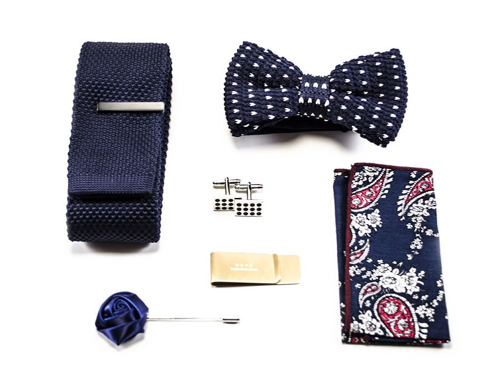 matched men's accessories - Blue Tie, Bow tie, pocket square, cuff links, money clip, lapel pin