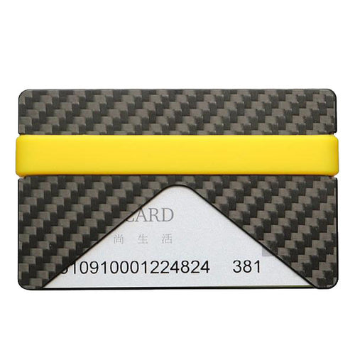 Carbon Fiber wallet yellow band  Parlour.Club