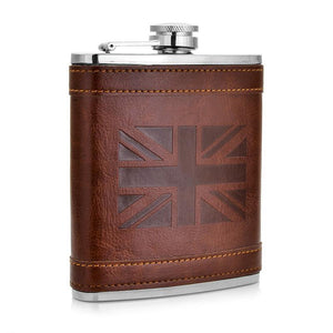 Leather Hip Flask, Stainless Steel 7oz