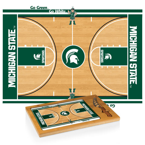 Michigan State Spartans Icon Cutting Board/Tray and Knife Set in Basketball Design
