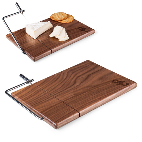 USC Trojans Meridian Black Walnut Cutting Board and Cheese Slicer