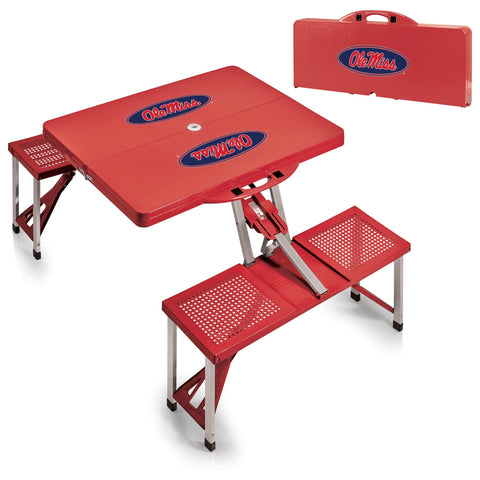 Ole Miss Rebels Portable Picnic Table in Red