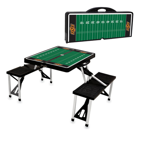 Oklahoma State Cowboys Portable Picnic Table w/Sports Field Design in Black