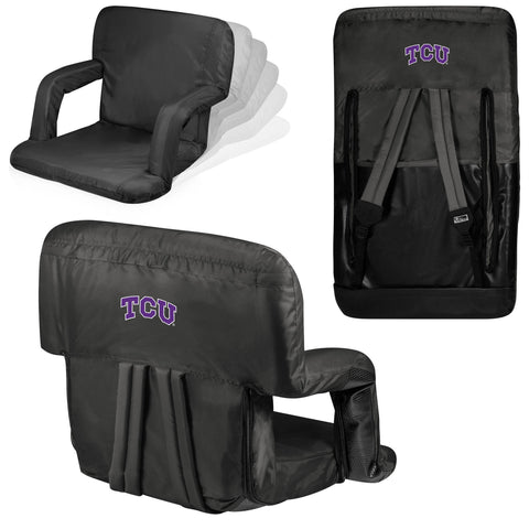 TCU Horned Frogs Ventura Seat Portable Recliner Chair in Black