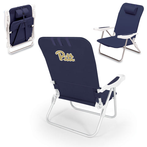 Pittsburgh Panthers Monaco Portable Beach Chair in Navy