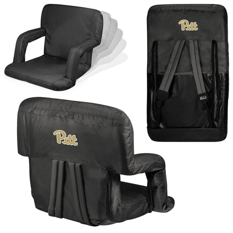 Pittsburgh Panthers Ventura Seat Portable Recliner Chair in Black