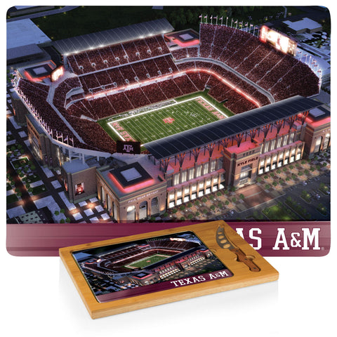Texas A&M Aggies Icon Cutting Board/Tray and Knife Set (Stadium Design)