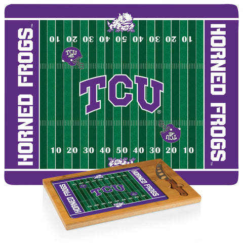 TCU Horned Frogs Icon Cutting Board/Tray and Knife Set in Football Design