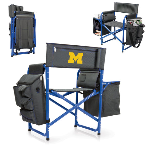Michigan Wolverines Fusion Chair in Fusion Grey/Blue