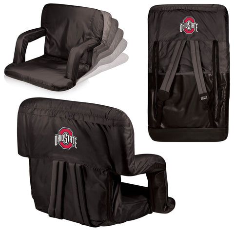 Ohio State Buckeyes Ventura Seat Portable Recliner Chair in Black