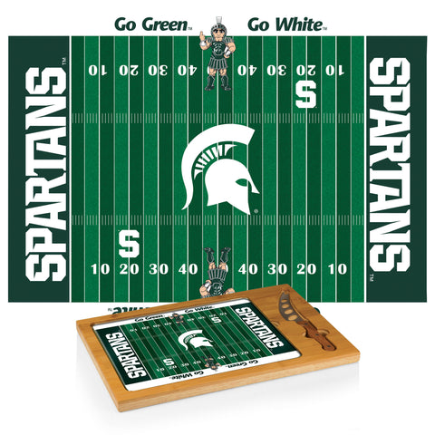 Michigan State Spartans Icon Cutting Board/Tray and Knife Set in Football Design