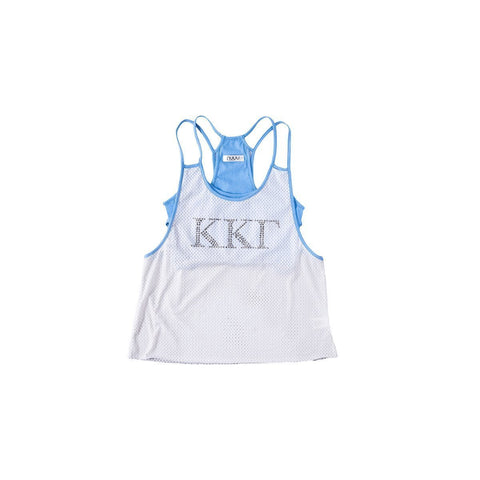 Kappa Kappa Gamma Mesh Tank with Rhinestones and Attached Sporty Bralette