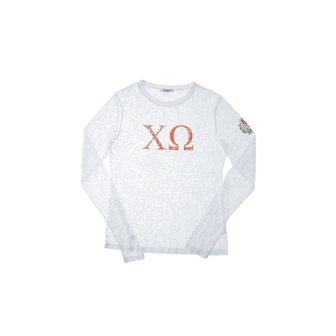 Chi Omega Long Sleeve Burnout Crew