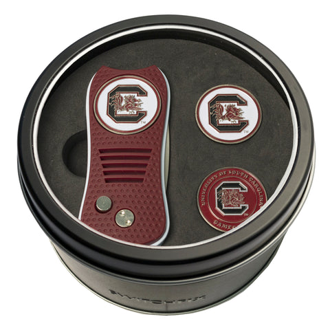 South Carolina Gamecocks Tin Gift Set with Switchblade Divot Tool and 2 Ball Markers