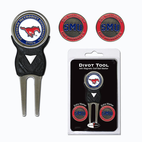 SMU Mustangs Divot Tool Pack With 3 Golf Ball Markers