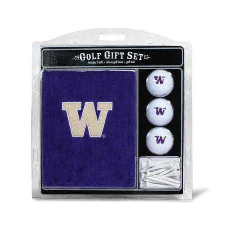 Washington Huskies Embroidered Golf Towel, 3 Golf Ball, and Golf Tee Set