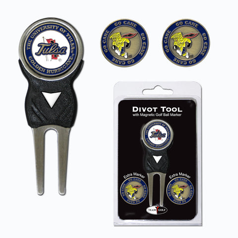 Tulsa Golden Hurricanes Divot Tool Pack With 3 Golf Ball Markers