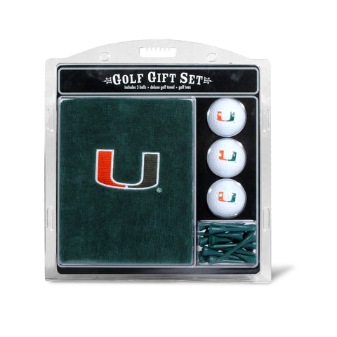 Miami Hurricanes Embroidered Golf Towel, 3 Golf Ball, and Golf Tee Set