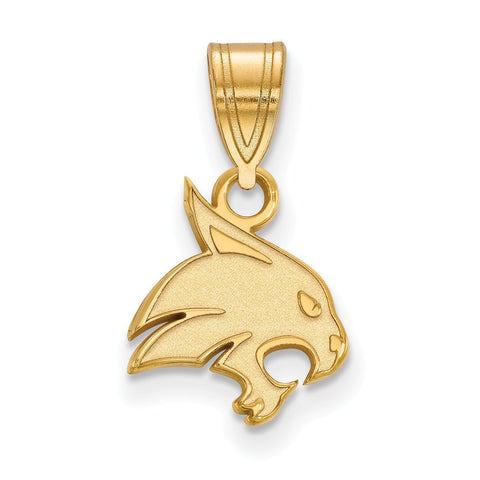 Texas State Bobcats Small Pendant 14k Yellow Gold