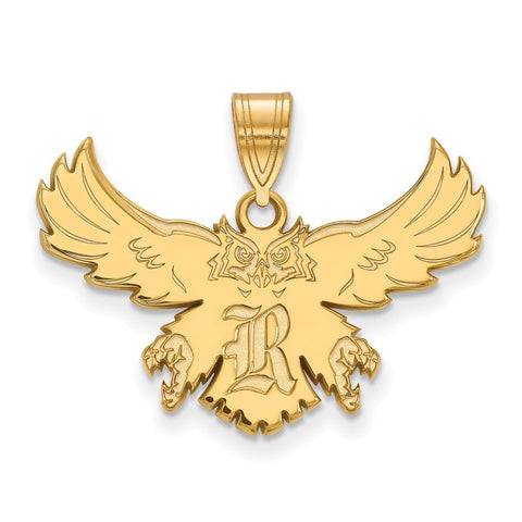 Rice Owls Large Pendant 14k Yellow Gold