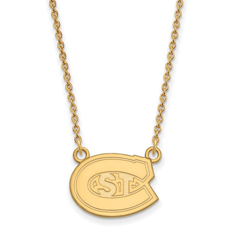 St. Cloud State Huskies Small Pendant Necklace 14k Yellow Gold