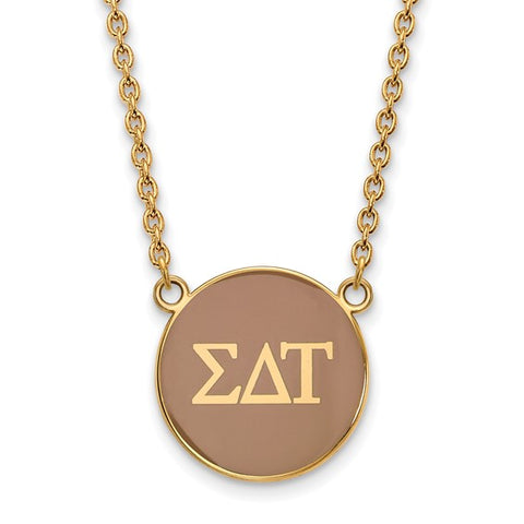 Sigma Delta Tau Small Enameled Pendant Necklace 14k Gold Plate