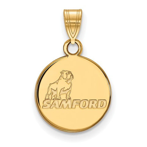 Samford Bulldogs Small Pendant 14k Yellow Gold