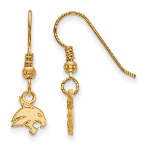 Texas State Bobcats XS Dangle Earring Wire 14k Gold Plate