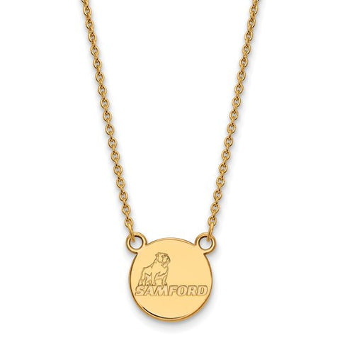 Samford Bulldogs Small Pendant Necklace 14k Yellow Gold
