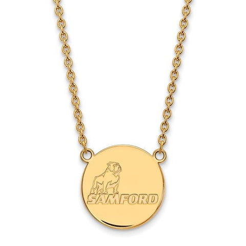 Samford Bulldogs Large Pendant Necklace 10k Yellow Gold