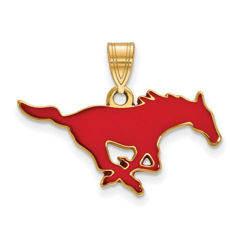 SMU Mustangs Medium Enamel Pendant 14k Gold Plate