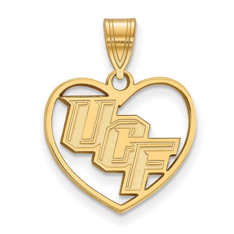 UCF Knights Pendant in Heart 14k Gold Plate