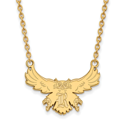 Rice Owls Large Pendant Necklace 14k Gold Plate
