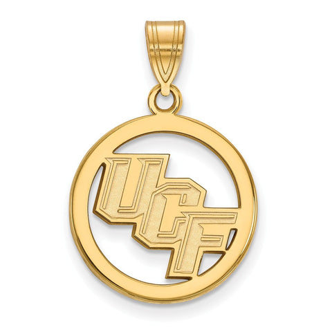 UCF Knights Small Pendant in Circle 14k Gold Plate
