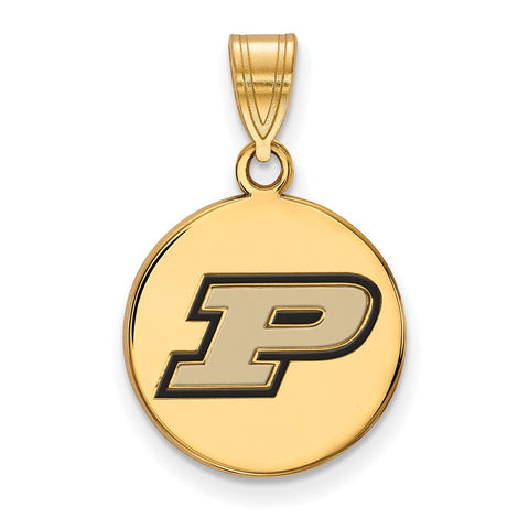 Purdue Boilermakers Medium Enamel Disc Pendant 14k Gold Plate