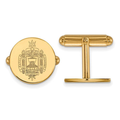 Navy Midshipmen Crest Cufflinks 14k Gold Plate
