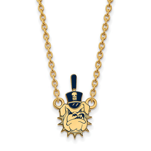 The Citadel Large Enamel Pendant Necklace 14k Gold Plate