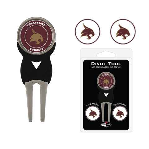 Texas State Bobcats Divot Tool Pack With 3 Golf Ball Markers