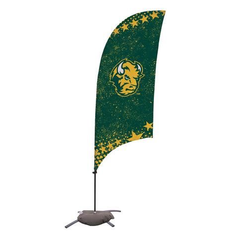 North Dakota State Bison 7.5 Ft. Razor Feather Flag With Cross Base 001