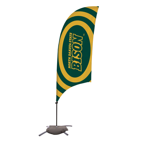 North Dakota State Bison 7.5 Ft. Razor Feather Flag With Cross Base 002